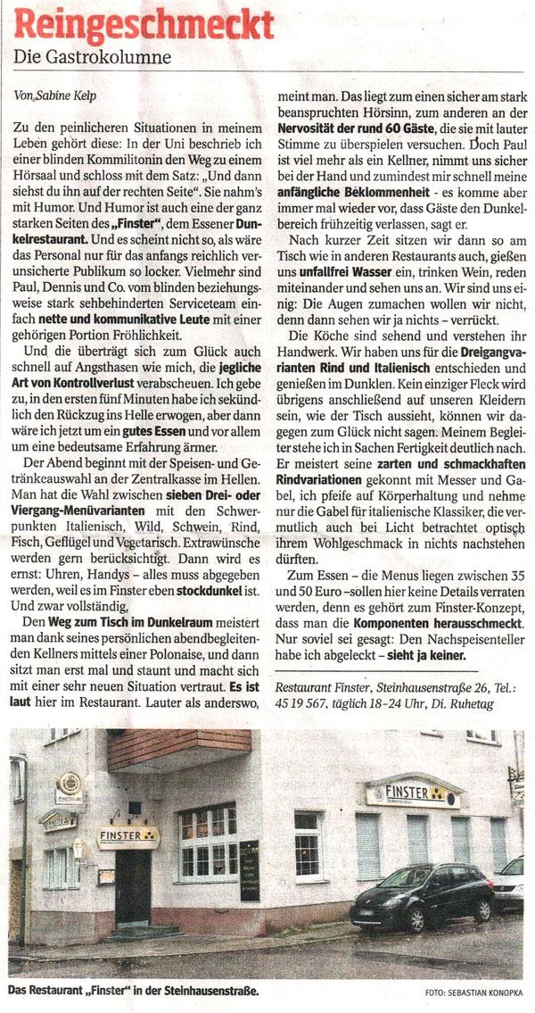 Karlsruhe dunkelrestaurant Restaurant FINSTER